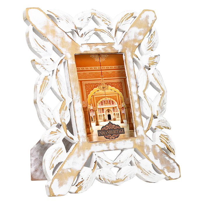Mdf cutwork design photo frame in white distress finish for Glass cut work designs