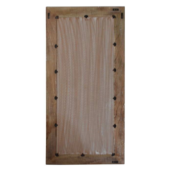 Mango Wood Carved Design Mirror In Natural Wood And