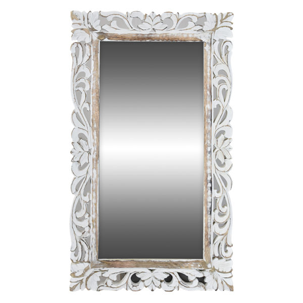 Mango Wood Carved Mirror Frame in White Wash Finish