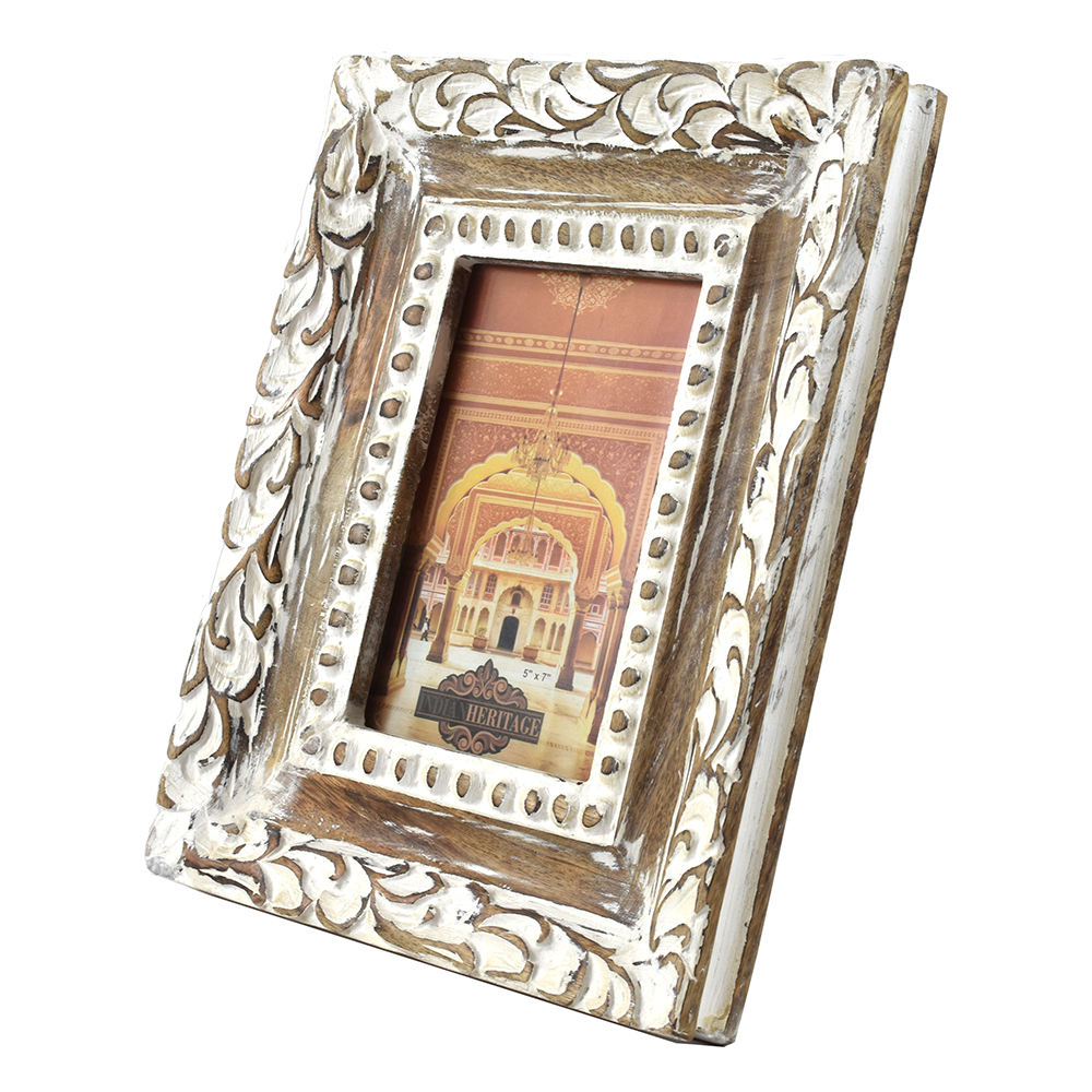 Indian Heritage Wooden Photo Frame 7 5 Mango Wood Carving Design With White Distress Finish