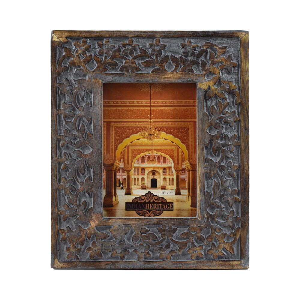 Indian Heritage – Wooden Photo Frame 5×7 Mango Wood Carving Design ...