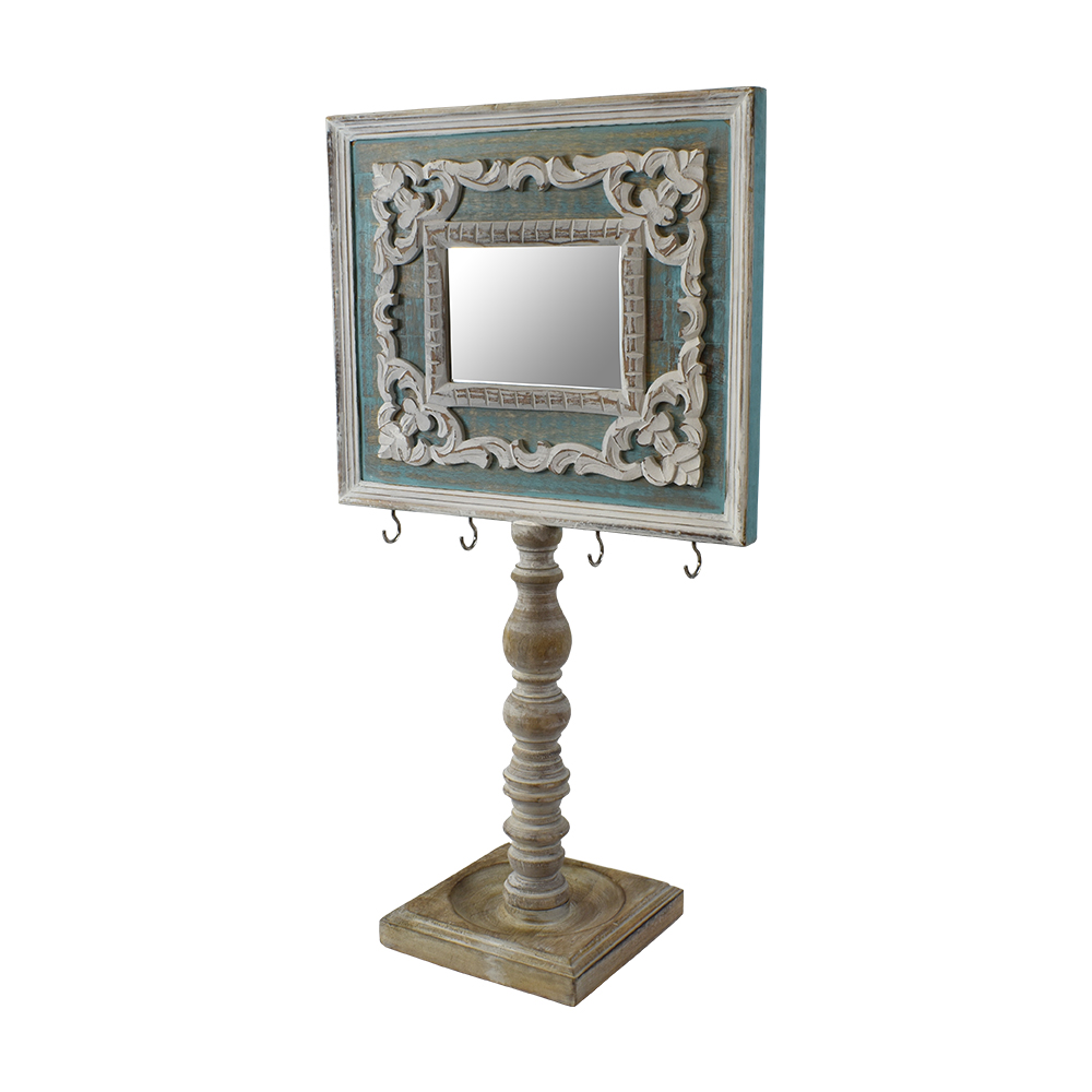Indian Heritage – Wooden Mirror 29×16″ in Turquoise Blue/ White ...