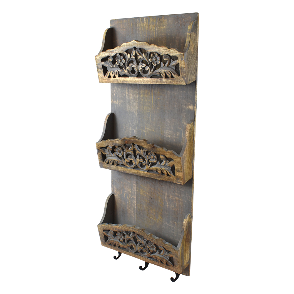 Indian Heritage Wall Letter Rack  Carved Mango Wood Three
