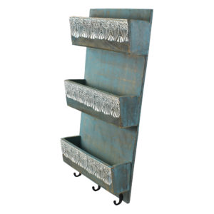 Indian Heritage Letter//Mail Sorter 6.2x12.5 Mango Wood Letter Sorter with Henna Work in Turquoise Blue Wash