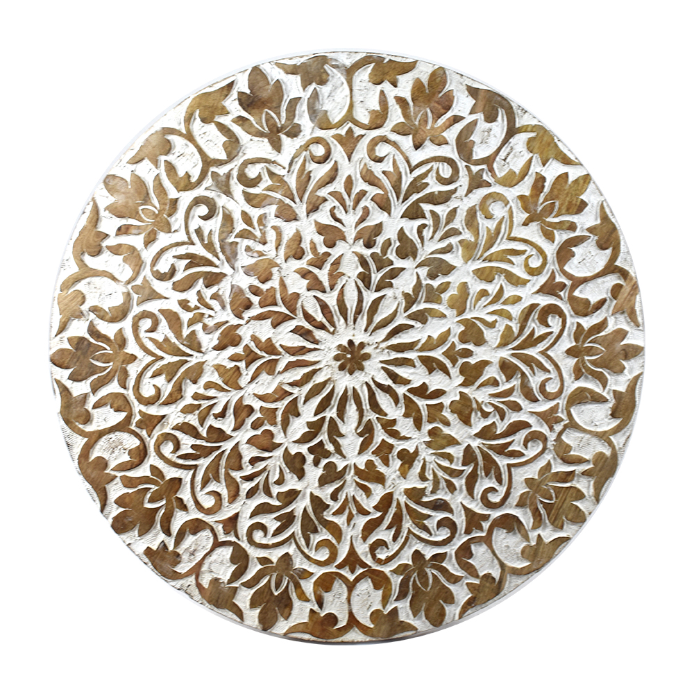 Indian Heritage Wooden Round Table 24×24u2033 Carved Mango Wood In White And  Natural Wood Finish